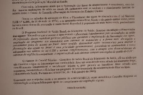 Foto do ofício do CRO RJ dirigindo-se a mim, como pres. da AMO-MARICÁ (Assoc. Maricaense de Odontologia) atestando os benefícios do...