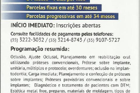 Curso de Especialização em Prótese Dentária. Inscrições abertas na ABO- Varginha-MG