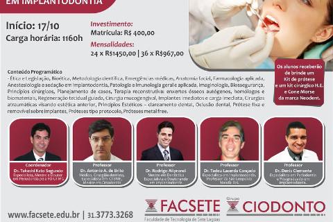 Iniciando em Outubro de 2012, o curso de especialização em implantodontia...Últimas vagas......